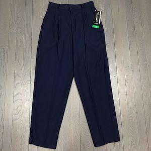 NWT Vintage Briggs Pleated Navy Trousers Pants